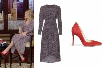 kelly ripa's wrap dress and red suede pumps