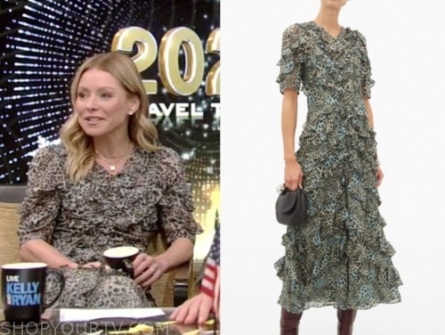 kelly ripa's animal print ruffle midi dress