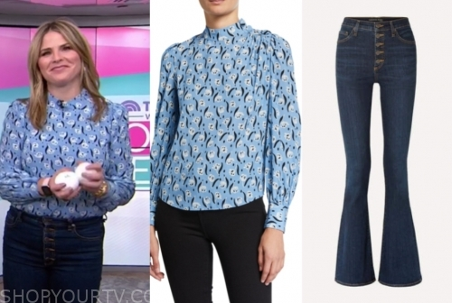 jenna bush hager's blue printed blouse and jeans