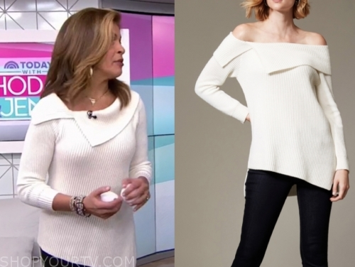hoda kotb's white folded asymmetric sweater