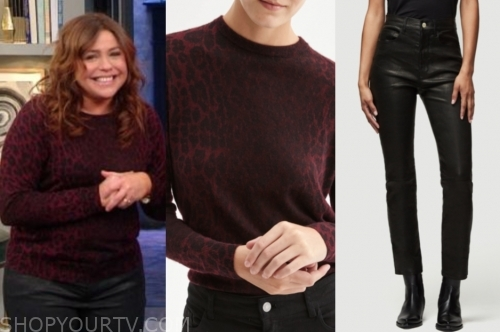rachael ray's burgundy sweater and black leather pants
