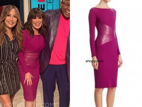 marie osmond's purple leather panel dress