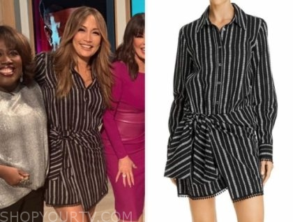 carrie ann inaba's black striped dress