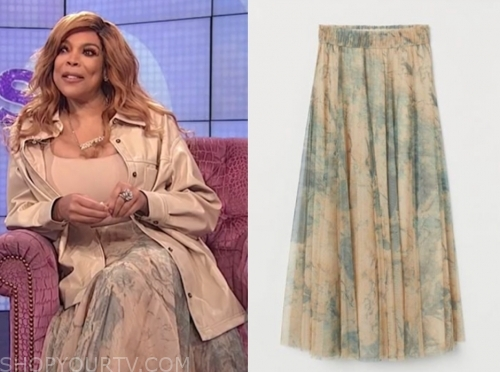 wendy williams's marble print turtle midi skirt