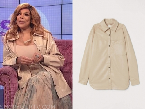 wendy williams's beige leather shirt