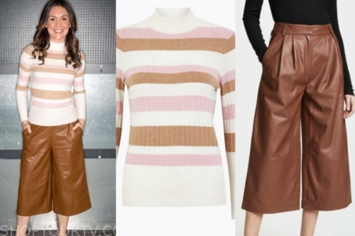 laura tobin's striped sweater and leather pants
