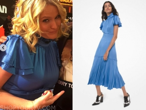 sara haines's blue mock neck midi dress