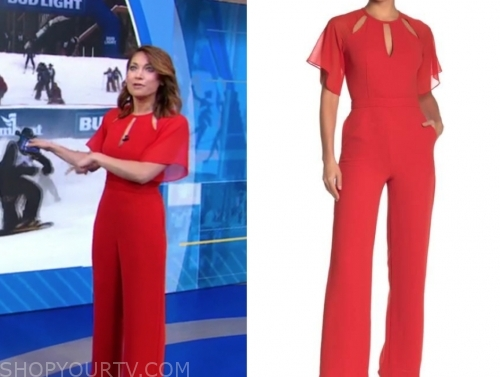 ginger zee's red cutout jumpsuit