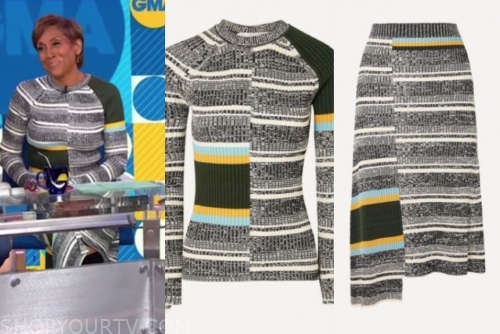 robin roberts's striped knit sweater and skirt set