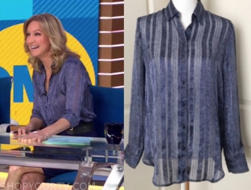 lara spencer's blue printed button down blouse