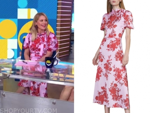 candace cameron bure's purple and red floral midi dress