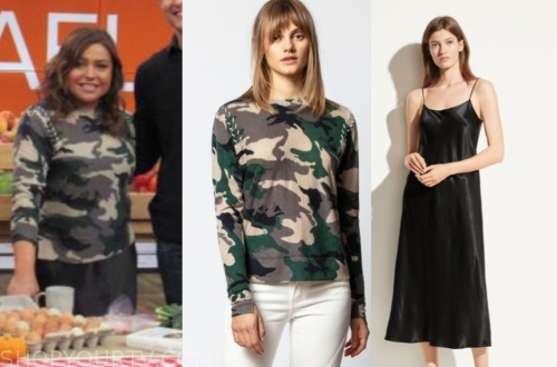 rachael ray's camo sweater and black satin skirt