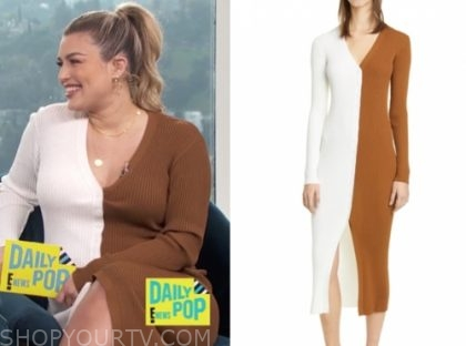 carissa culiner's brown and white knit colorblock dress