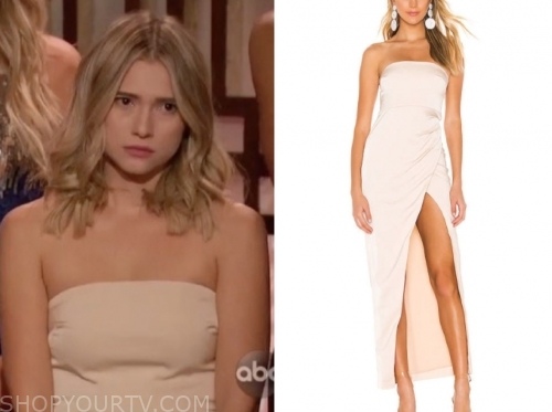 mykenna d.'s strapless ivory dress, the bachelor