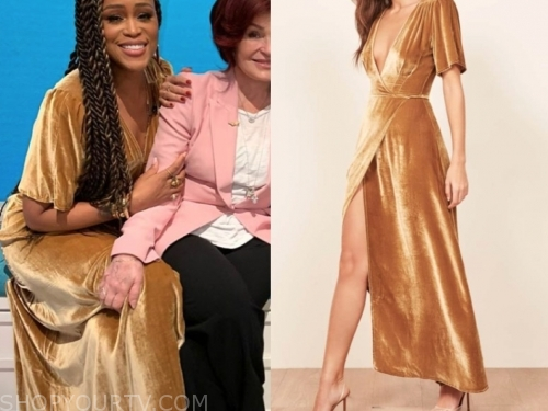 eve's velvet wrap dress, the talk