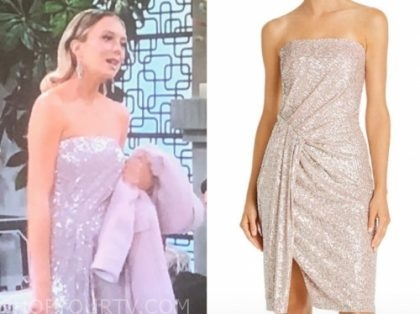 abby newman's pink sequin strapless dress