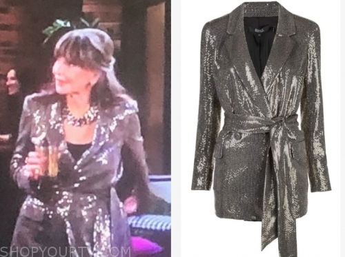 jill's sequin tie waist blazer, the young and the restless