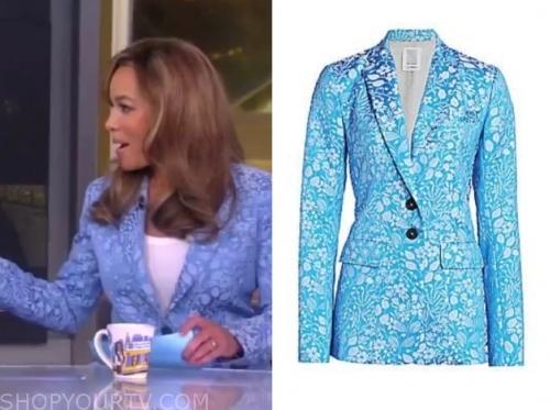 sunny hostin's blue jacquard blazer