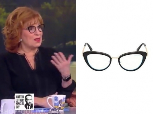 joy behar's black frame glasses