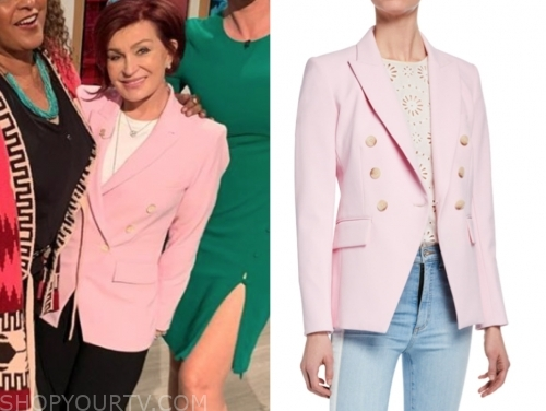 sharon osbourne's pink double breasted blazer