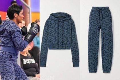 tamron hall's printed hoodie and sweatpants
