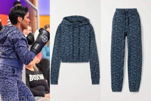 tamron hall's printed hoodie and sweatpants