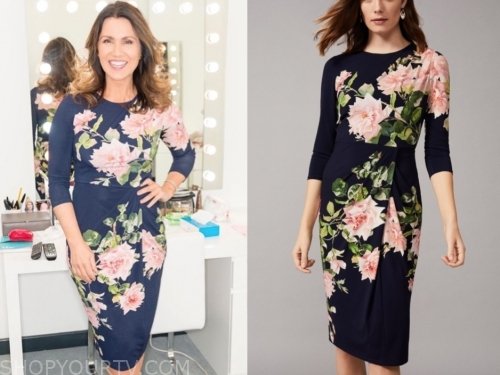 susanna reid's floral sheath dress, gmb