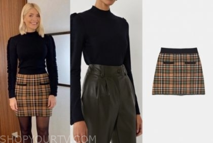holly willoughby's ruffle sweater and plaid skirt
