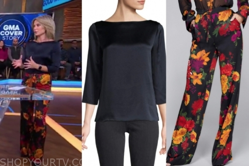 amy robach's floral pants and satin boatneck top