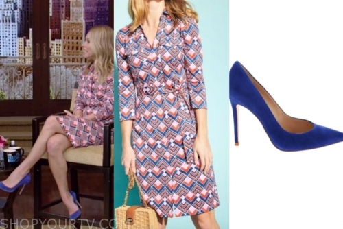 kelly ripa's geometric shirt dress, live with kelly and ryan