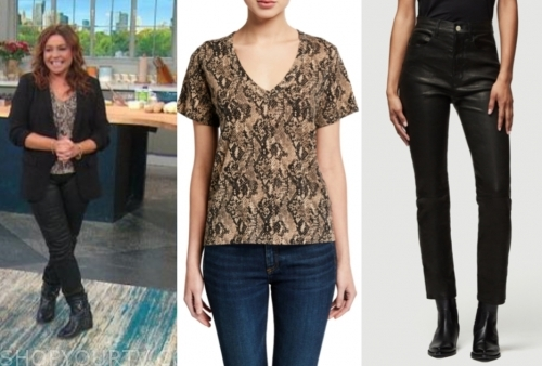 rachael ray's snakeskin top and black leather pants