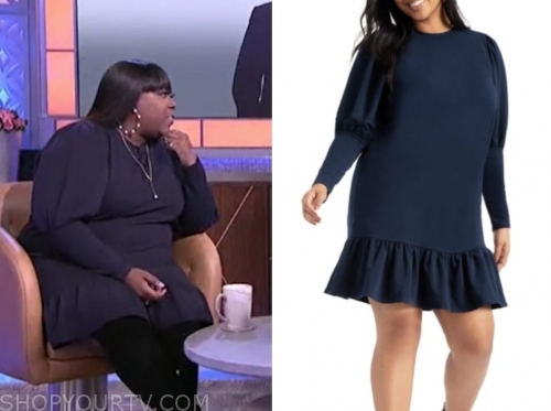 loni love's navy blue knit dress, the real