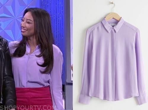 jeannie mai's lilac purple blouse