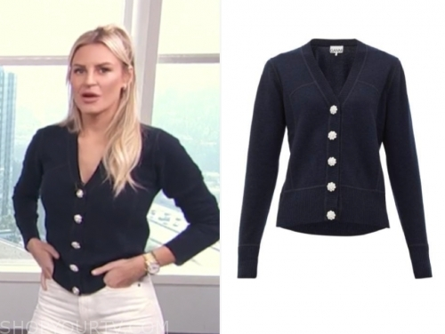 morgan stewart's navy blue embellished button cardigan sweater, E! news, daily pop