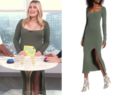 carissa culiner's green ribbed knit midi dress, E! news