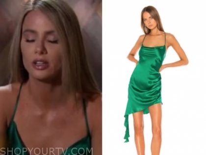 victoria p.'s green satin cowl dress, the bachelor