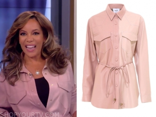 sunny hostin's pink leather button down shirt, the view
