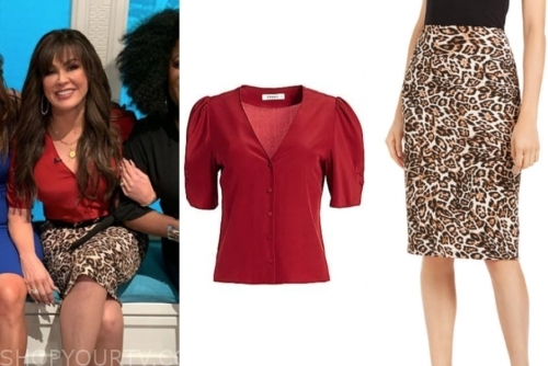 marie osmond's red blouse and leopard pencil skirt