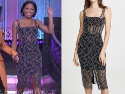 Bresha Webb's black lace sheath dress, the real