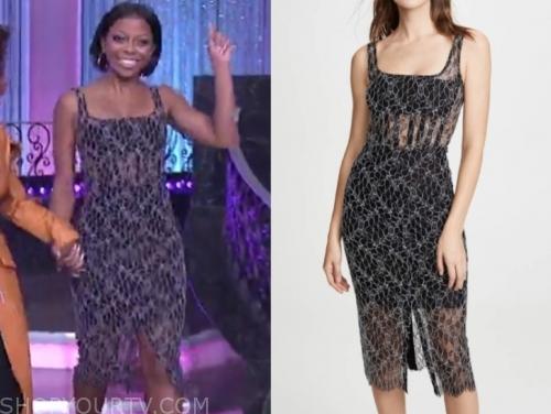 Bresha Webb's black lace sheath dress, the real