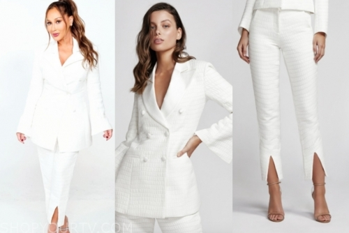 adrienne bailon's white jacquard pant suit, the real