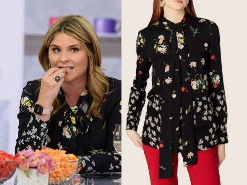 jenna bush hager's black floral tie neck blouse, the today show