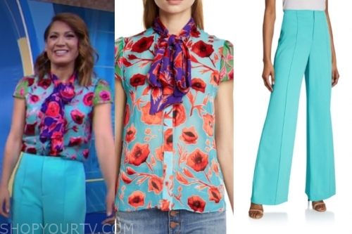 ginger zee's floral tie neck blouse and blue pants, gma