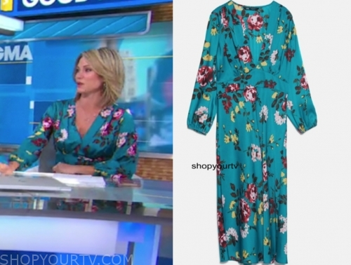 amy robach's floral v-neck dress
