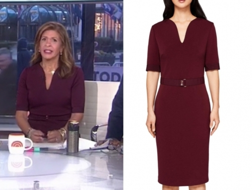 hoda kotb's burgundy belted sheath dress, the today show