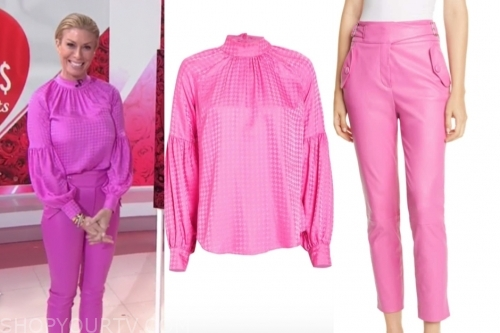 jill martin, the today show, pink houndstooth blouse, pink leather pants