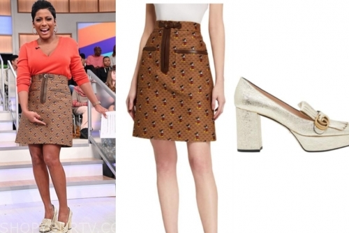 tamron hall show, tamron hall, mickey mouse skirt, gold loafers