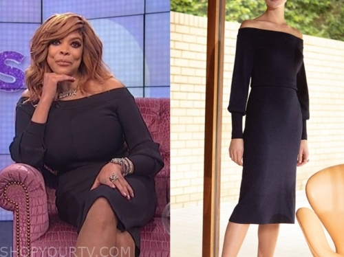 wendy williams, navy blue off-the-shoulder dress, the wendy williams show