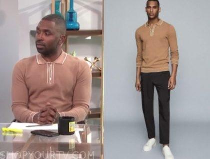 E! news, justin sylvester, brown polo zipper sweater