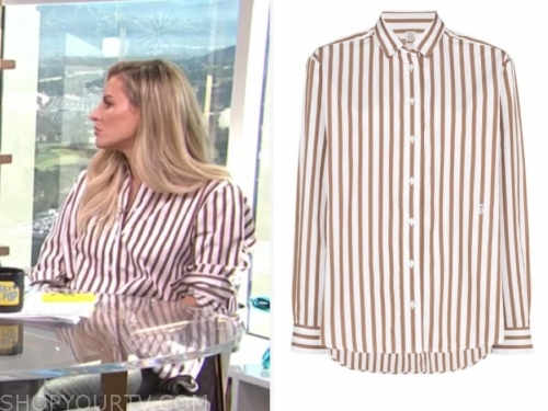 morgan stewart's striped shirt, E! news, daily pop